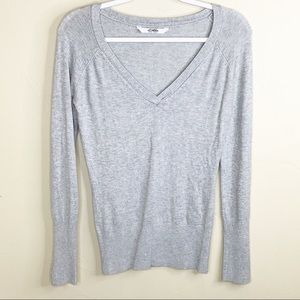 Pull&Bear Grey V-Neck Sweater with Button Cuffs